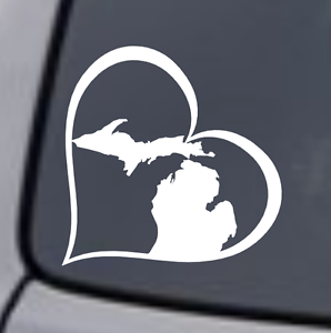 MICHIGAN HEART Vinyl Decal Sticker Car Window Wall Bumper Love Great Lakes State