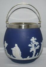 Adams, Tunstall - Cobalt Blue Jasperware - Biscuit Barrel with EPNS Mount