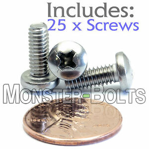 M4-.7 X 8 Phillips Pan Machine Screw A4 Stainless Steel Package Qty 100