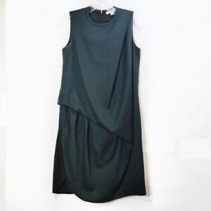 Carven Wool Tank Dress Gathered Ruched Dark Green Knee Length Womens Sz 38/6