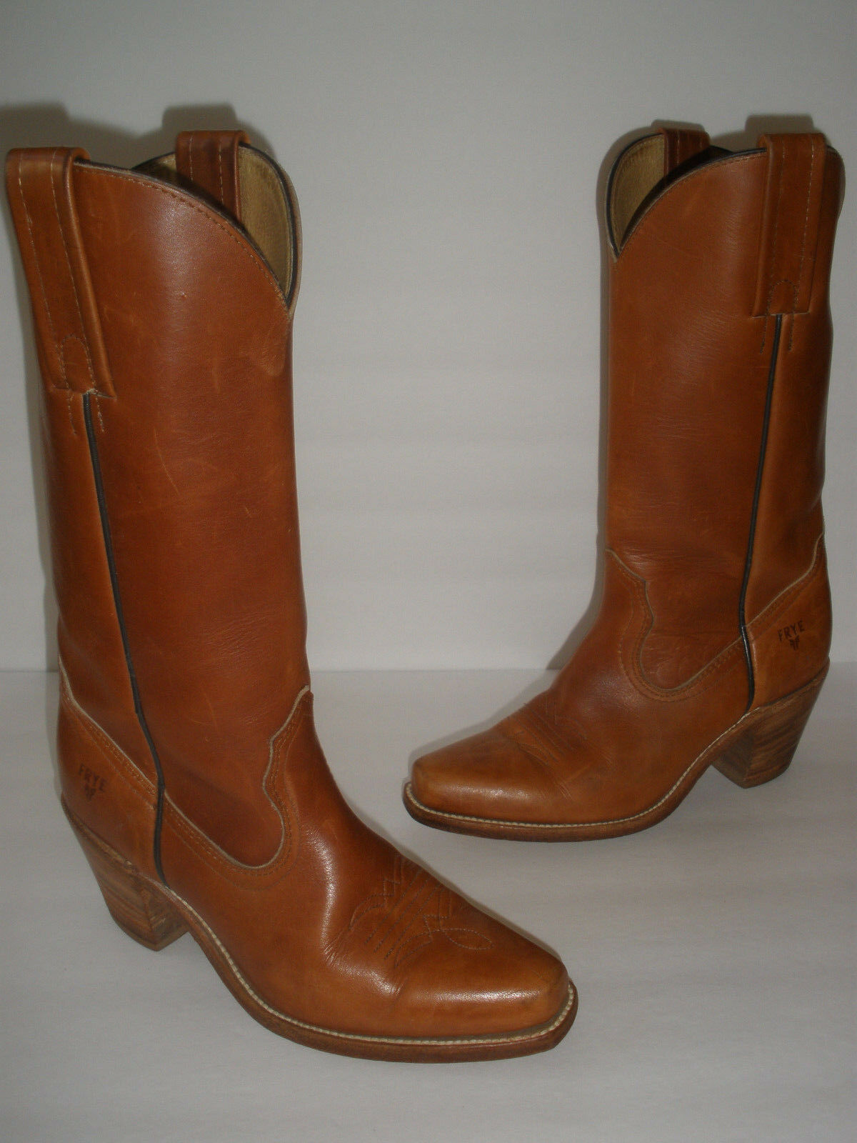 FRYE COWGIRL LEATHER BOOTS SIZE US 5.5 HOT VINTAGE  MADE IN USA