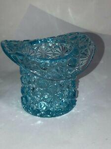 Vintage-Top-Hat-Light-Aqua-Blue-Glass-Ashtray-Toothpick-Holder-Cigar-Depression