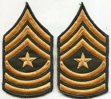 US Army Sargent Major Stripes Arm Patch Green & Gold Cut Edge Pair