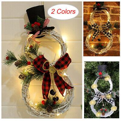 Christmas Happy LED Rattan Wreath Snowman Shaped Wall Door Tree Hanging Decor UK