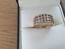 Oro 9 carati Anello Set con EMERALDS, sapphires & RUBIES Taglia P