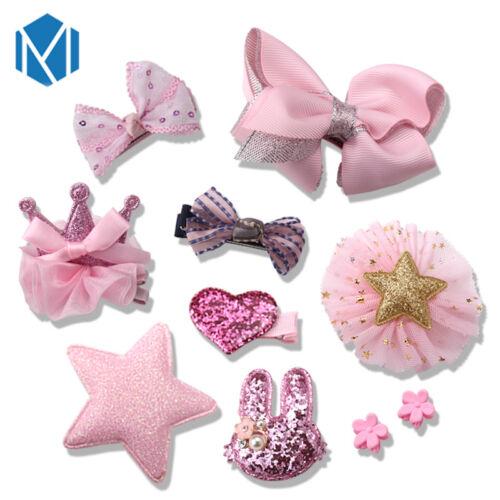 10Pcs//Set Kids Baby Girl bow Boutique clips Cheveux Fleur Barrette épingle Boîte Cadeau UK