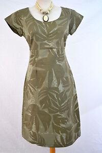 White-Stuff-dress-khaki-green-print-linen-summer-8-10-NEW