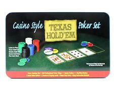 Casino Pokerset Starterset für Poker mit Chips Karten Blind Button Pokertuch NEU