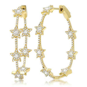 84b6996e043fb Details about 1.13ct 14k Yellow Gold Natural Round Diamond Star Oval Hoop  Earring Fine Fashion