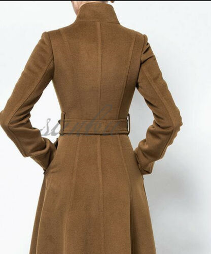 Womens Ladies Maxi Long Full Length Belted Coat Single Breasted Wool Blend Coats