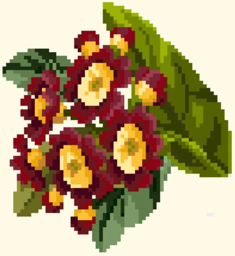 Berlinwork Primula flower coasters counted cross stitch kit or chart 14s aida