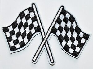 Checkered flag chequered auto car racing rockabilly iron on