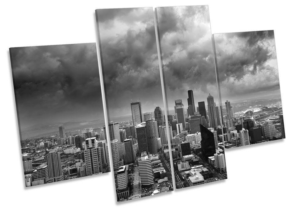 Seattle CITY SKYLINE Washington canvas arte muro pannello Multi Stampa Immagine