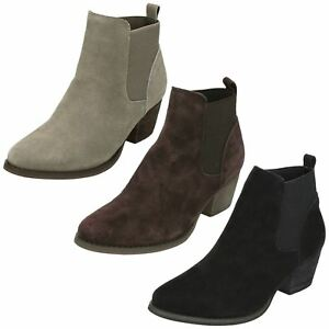 Kleidung & Accessoires Ladies Winter Ankle Boots Pull On Pointed Toe Mid Heel Down To Earth F5r0940