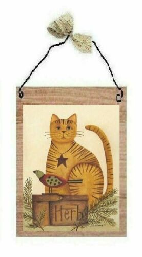 Primitive Pictures Folk Art Cats Old Vintage Look Country Wall Hangings Plaques