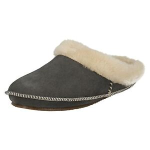 Shumo EDNA Ladies Womens Faux Fur Warm Cosy Chain Mule Sliders Slippers Black