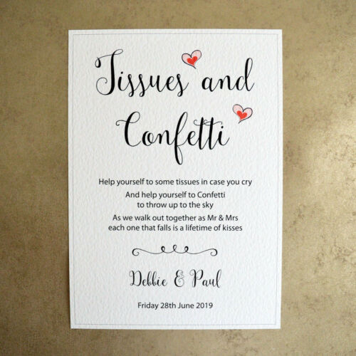 Hammer Card Red Hearts Personalised A4 Wedding Sign Tissues /& Confetti