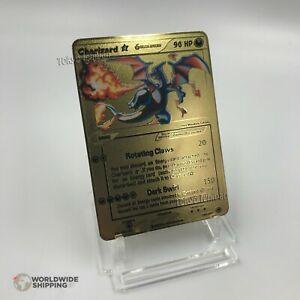 Carte-Pokemon-Gold-Mega-Dracaufeu-Charizard-Metal-Card-Fan-Made-GX-EX