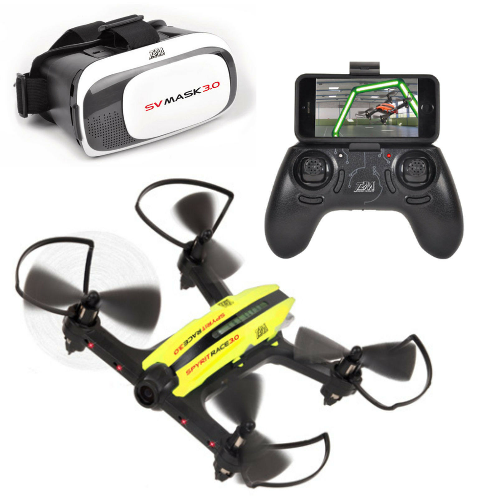 T2M spyrit Race 3.0 FPV Quadrocopter with steuerungsbrille T5184 Yellow + bluee