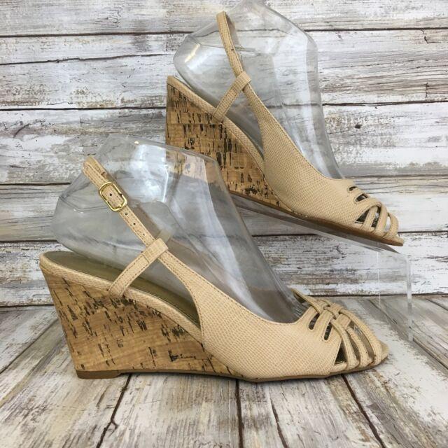 Chaps Womens 7M Ranna Open Toe Wedge Slingback Sandals Beige Reptile Print