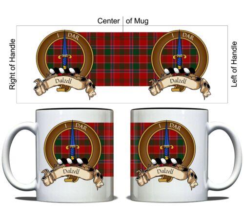 Dalzell Scottish Clan Tartan 11oz Mug with Crest and Motto