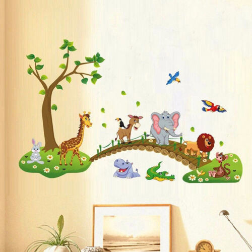 Cartoon Animals Removable Wall Decal Stickers Kids Baby Nursery Room Decor JD