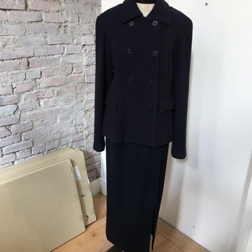 DONNA KARAN Black Label Navy Boucle Skirt Suit Mix