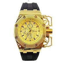Gold Black Mens Watch Geneva Metal Oversized Designer Silicone Band Sports