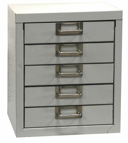 ADB Schubladenschrank 5 Schubladenbox Container A4 RAL 7035 H320xB270xT342 mm