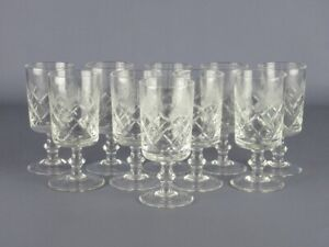 Vintage-Service-10-Glasses-Crystal-Bevelled-Period-Xx-Century