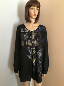 LINEA-by-LOUIS-DELL-OLIO-Sz-2X-Black-Floral-Watercolor-BLOUSE-TOP-Long-Sleeve