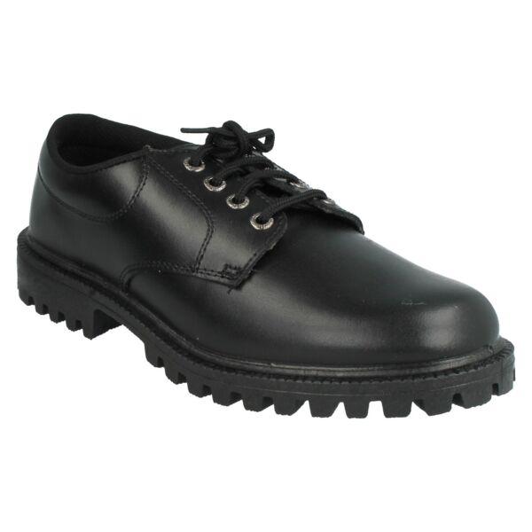 190583 Cordón De Cuero Para Hombre Puntera Redonda Negro Zapatos Formales Grosby