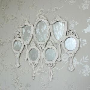 White wooden vanity multi mirror shabby vintage chic pretty ornate ...