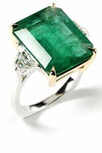 Art-Deco-Vintage-Green-14-25-ct-Emerald-Sapphire-Antique-Wedding-925-SILVER-Ring