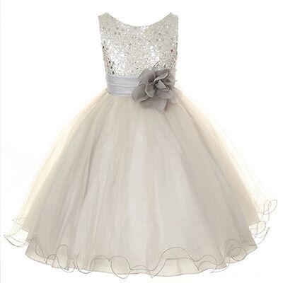 Flower Girls Sequin Glitter Beaded Dress Christmas Pageant Graduation Silver New