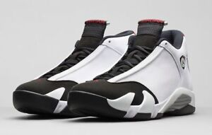 outlet store sale eb7fb 4d70a Details about Nike Air Jordan 14 Retro Black Toe White Red Silver 487471-102
