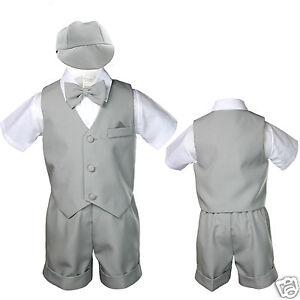 fd9f45835432 New Silver Gray Infant Boy   Toddler Formal Bowtie Hat Vest shorts ...