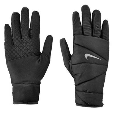 Nike Men's Quilted Run Gloves 2.0, Black, L or XL