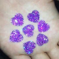 DIY NEW 20PCS Purple Resin Heart flatback Scrapbooking for phone/wedding/craft
