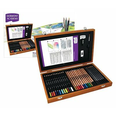Derwent Academy Wooden Gift Box Set - Colour Pencils & Art Accessories