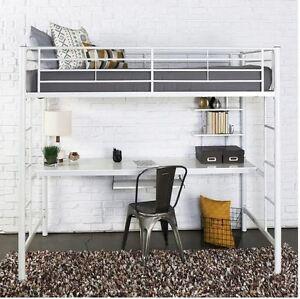 Details about Loft Bed Frame Desk Set Twin Size Bunk for Kids Teens Girls  Boys Bedroom White