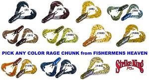 Strike-King-Rage-Chunk-Soft-Plastic-Jig-Trailer-Any-Color-Craw-RGCHK-Lure