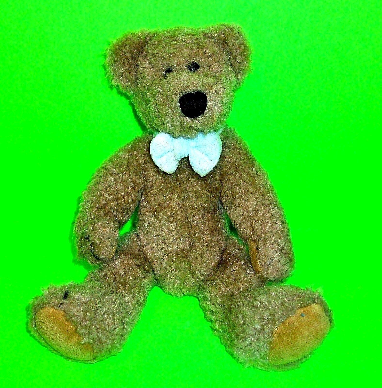 Boyds marrone Teddy Bear Plush Jointed bianca Bow Tie 9 Inch J.B. Bean Series 1996