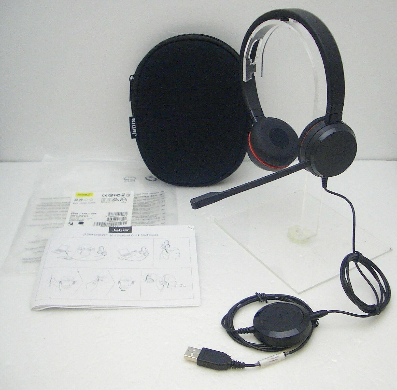 Jabra Evolve 30 Ii Uc Stereo Over The Head Pc Headset For Music Voip Softphones 706487017509 Ebay