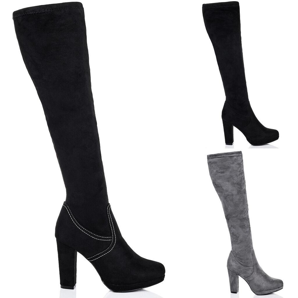 Damenschuhe Platform Platform Damenschuhe Block Heel Thigh Stiefel a09c07