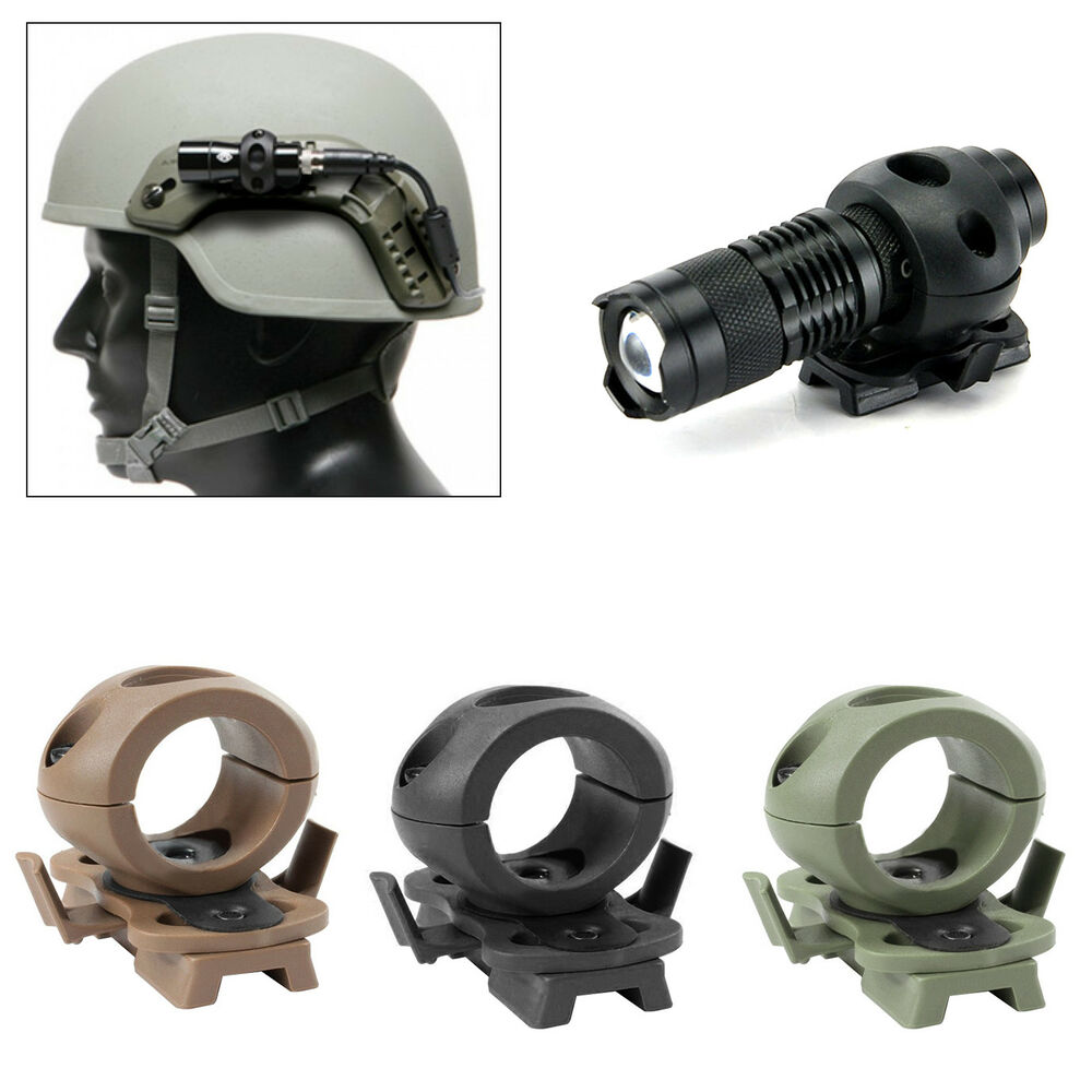 HK- Quick Release Flashlight Clamp Holder Mount for FAST Helmet Rail Surefire Ex Hunting