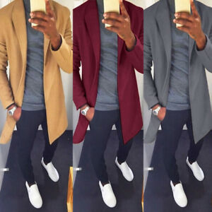 Men-039-s-Winter-Wool-Blend-Warm-Trench-Coat-Reefer-Jackets-Double-Breasted-Peacoat
