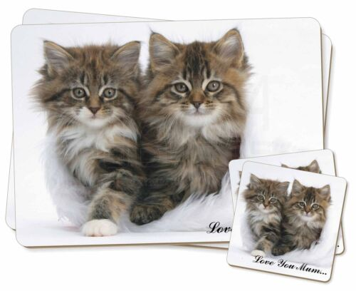 'Love You Mum' Mothers Day Cats Twin 2x Placemats+2x Coasters Set i, AC189lymPC