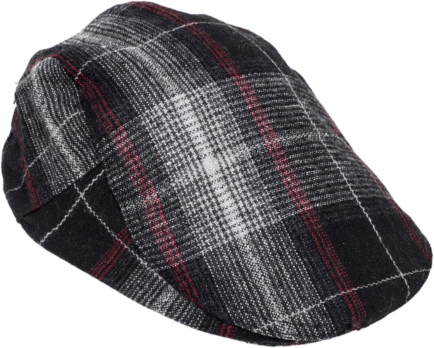 Retro PLAID 50s Karo KARIERTE Schiebermütze FLAT CAP Rockabilly