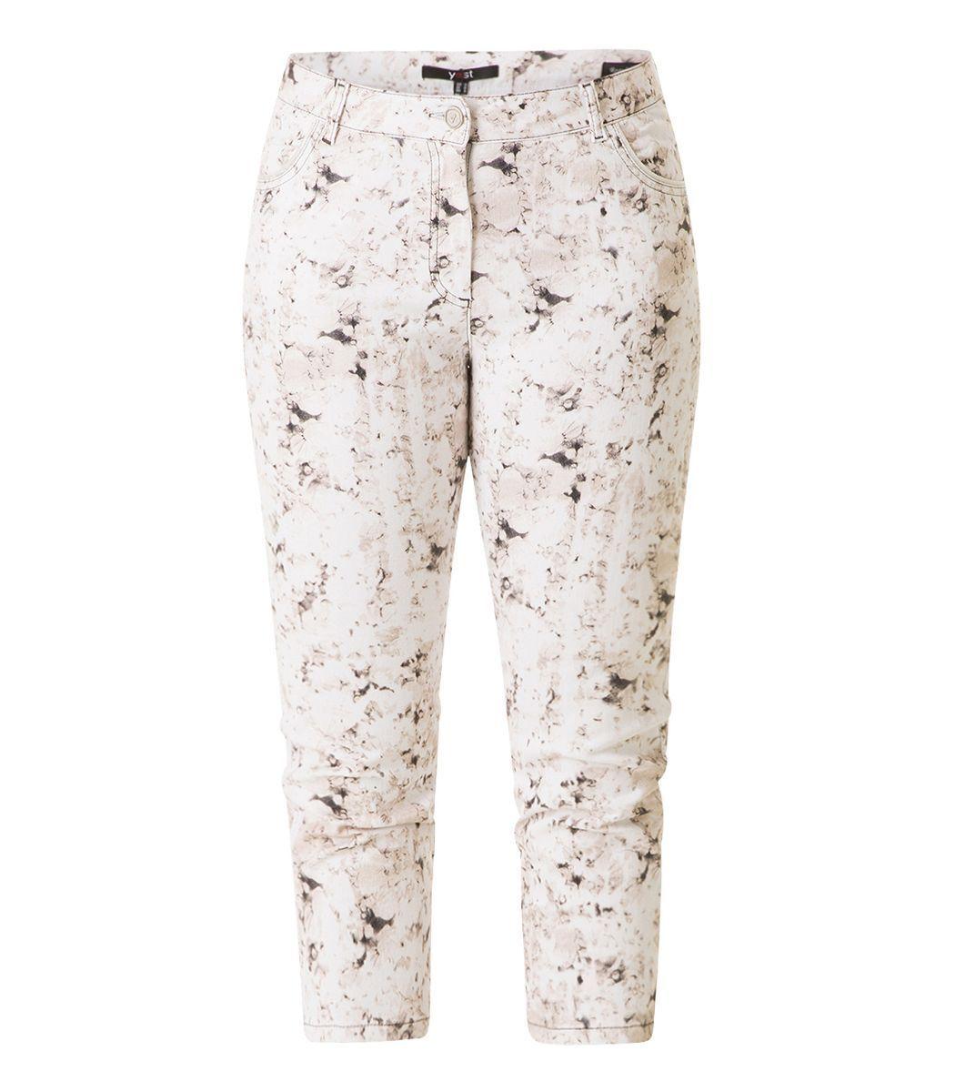 Yesta Stretch Damen Jeans Hose ausgefallen Weiß Braun in 3 4 Länge große Größen